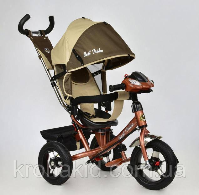 Велосипед 3-х колесный 7700 В - 6450 Best Trike ШОКОЛАДНО-БЕЖЕВЫЙ,  ПОВОРОТНОЕ СИДЕНЬЕ, НАДУВНЫЕ КОЛ
