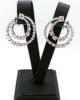 Вечерние серьги кольца из серебра 925 My Jewels с дорожкой из цирконов