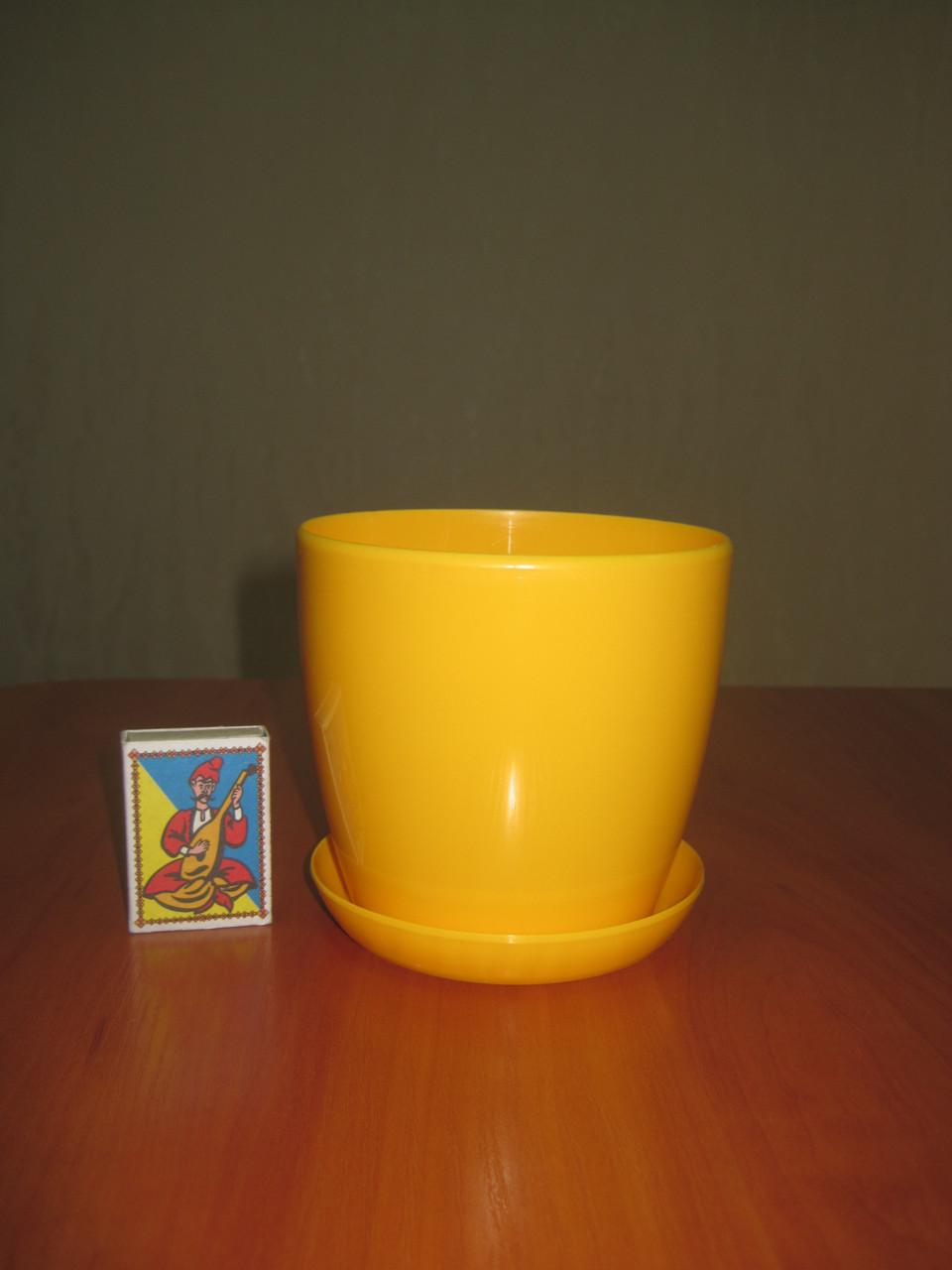 """Вазон цветочный """"Матильда"""" с подставкой V=0,8л (d=11см h=10,5см) темно-желтый """"Омела"""""""