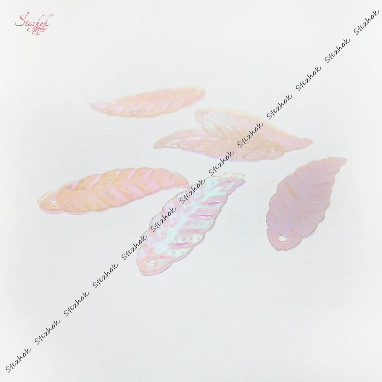 Акриловая подвеска листик 29 мм розовый для рукоделия