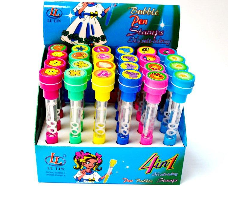 """Мыльные пузыри-ручки с печатью и светом """"Смайл"""", 10 мл, цвета МИКС"""