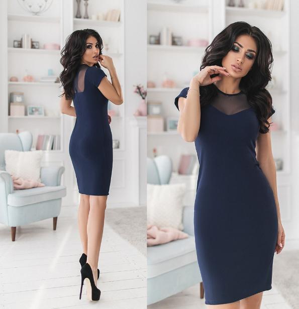 Облегающее женское платье с коротким рукавом. .Размеры: 42,44,46. +Цвета
