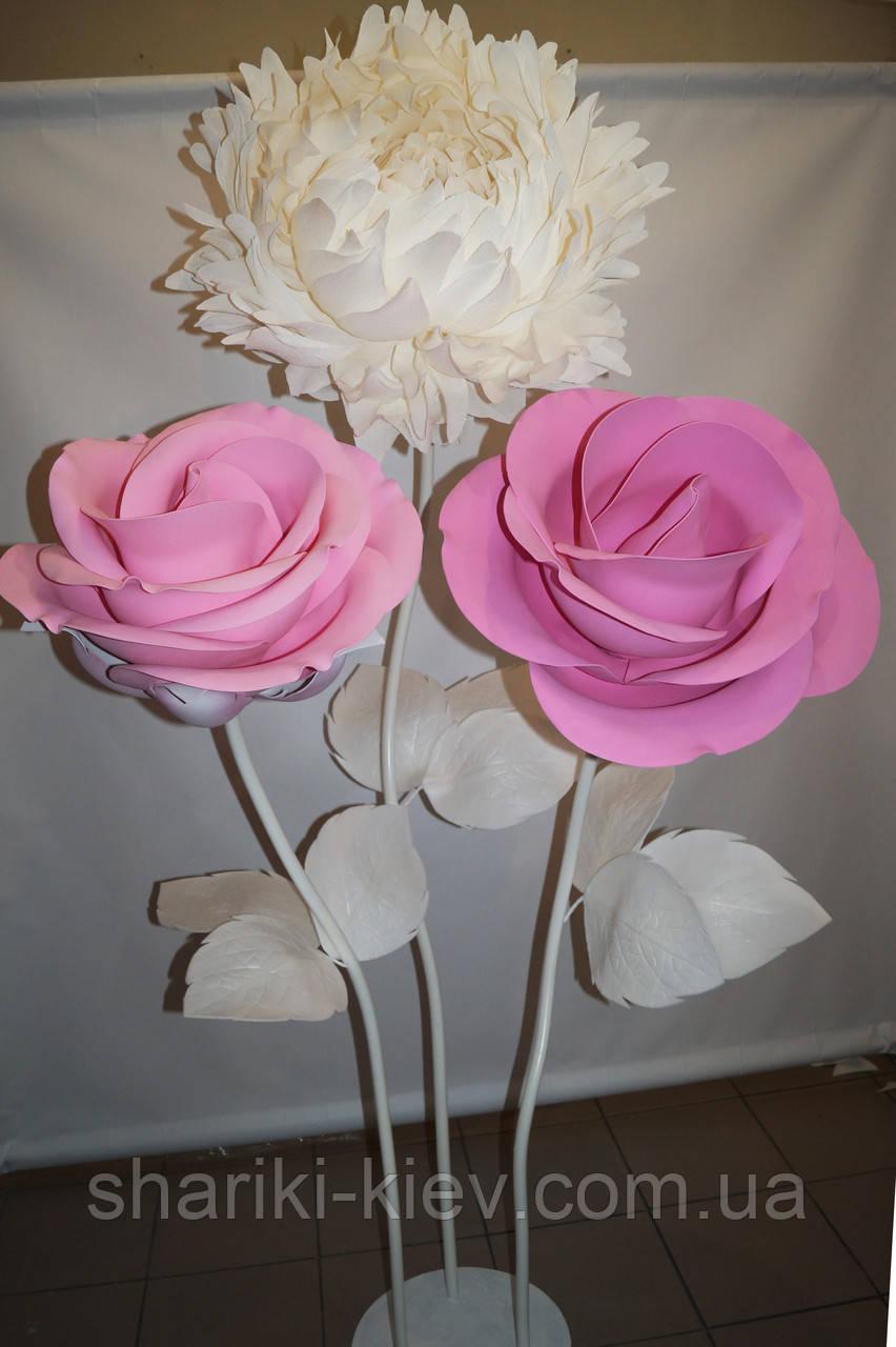 Декор Куст Гигантских Розовых Роз и Белого Пиона  Продажа
