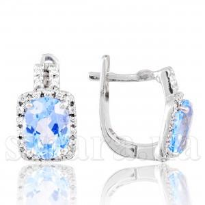 Серебряные серьги  c голубым топазом 28922