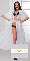 Длинный пляжный халат-парэо, большого размера,белая 56-64