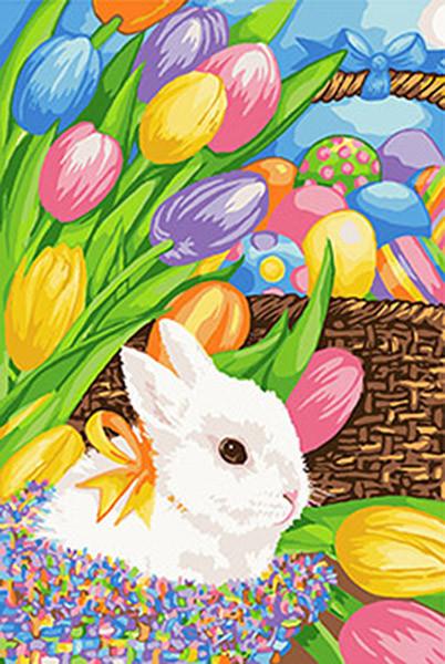 Картина по номерам на холсте Пасхальный кролик, KHO4109