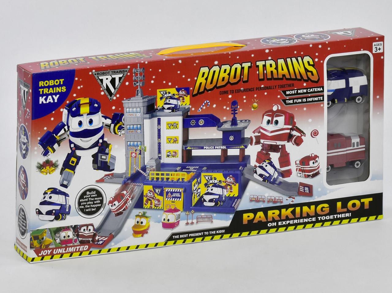 Гараж стоянка c двумя машинками Robot Trains