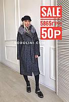 Пальто с мехом чернобурки со скидкой, фото 1
