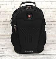 Вместительный рюкзак SwissGear Wenger, свисгир. Черный. + Дождевик. 35L / s8875 black