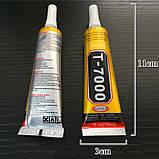 Клей-герметик Zhanlinda T 7000 чорний 15 мл, для приклеювання тачскріна, дисплея, фото 5