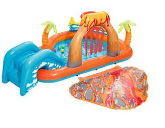 Детский надувной центр Bestway «Вулкан» с горкой и шариками.