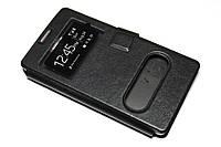Кожаный чехол книжка для Huawei Honor 3C чёрный