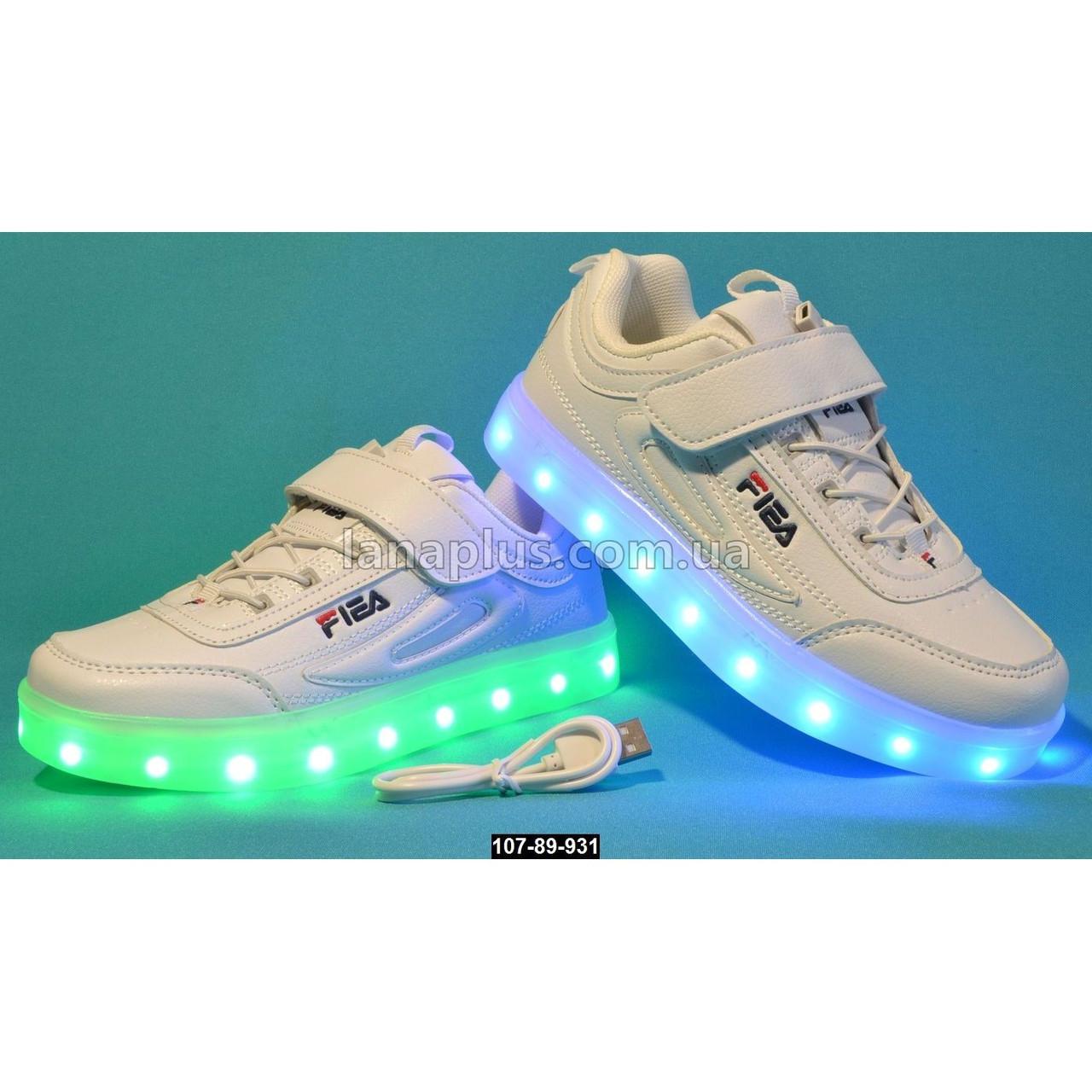 Детские светящиеся кроссовки, USB, 26 размер (16.7 см), 11 режимов LED подсветки, супинатор