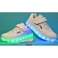 Детские светящиеся кроссовки, USB, 36 размер (23 см), 11 режимов LED подсветки, супинатор