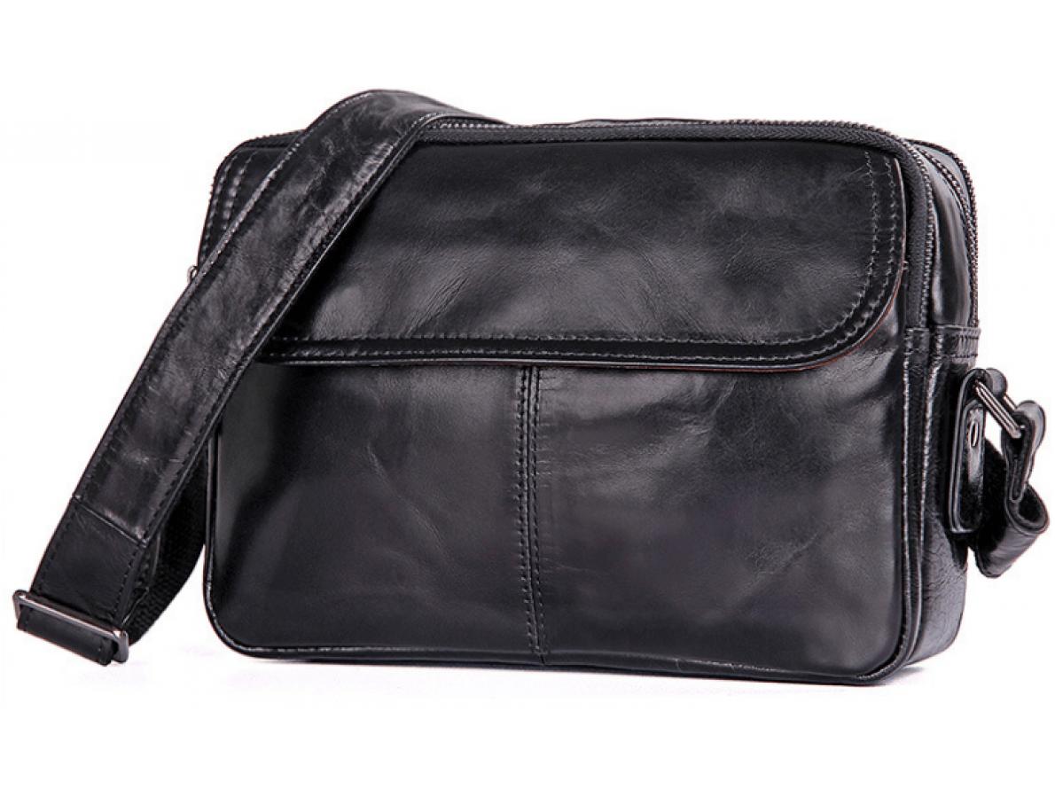 40ea6ce77298 Стильная мужская сумка в черном цвете с наплечным ремнем TIDING BAG  (BS-1026А)
