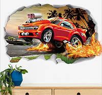 Самоклеющаяся  наклейка  на стену Гоночная машинка с эффектом  3D (70х50см)
