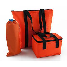 Комплект термосумок пляжная 22л + ланч бэг 5,5л + чехол для бутылки 2л оранжевый