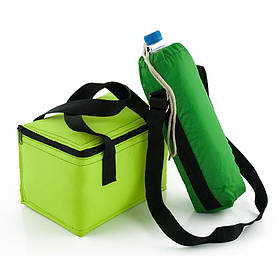 Комплект термосумок ланч бэг 5,5л салатовый + чехол для бутылки с ремнём 1,5л зелёный