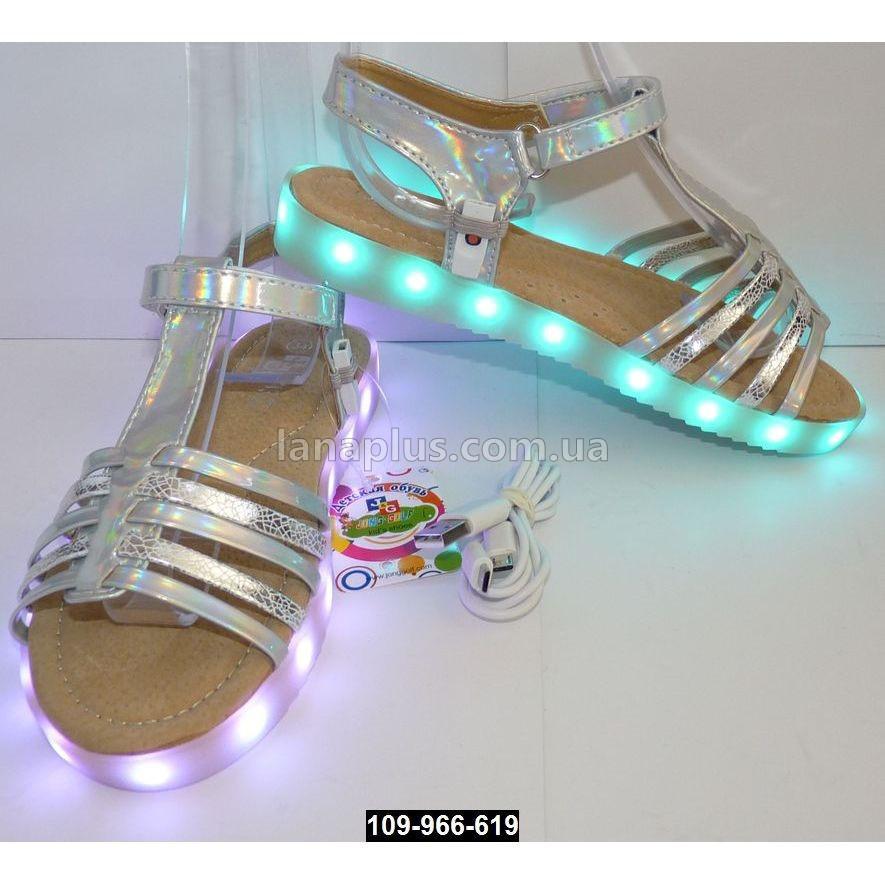 Cветящиеся босоножки для девочки, 24 размер (15 см), 11 режимов LED подсветки, подзарядка