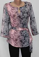 Блуза серо-розовая женская, абстракция, рукав 3/4, Турция, фото 1