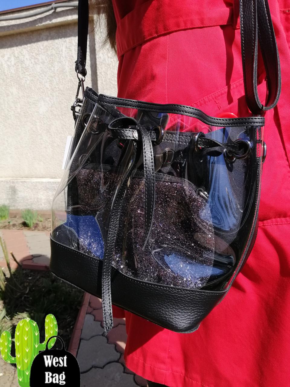 2372b068a31c 2в1 женская сумка Люверс силикон с черным, цена 550 грн., купить в ...