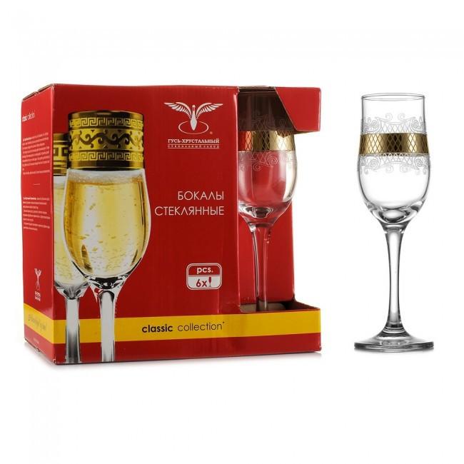 "Набор бокалов 190 мл для шампанского EAV25-160 рисунок ""Винтаж"" 6 шт."