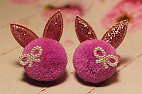 Резинки ушки с помпонами маленькие ярко-розовые