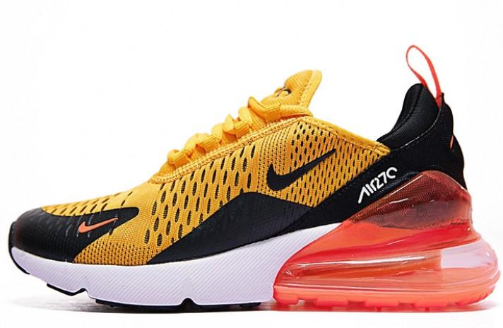 Мужские кроссовки Nike Air Max 270 Tiger Black University Gold Hot Punch White