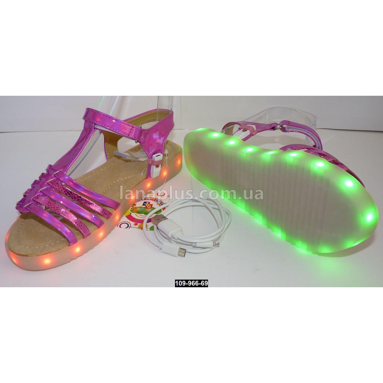 Светящиеся босоножки для девочки, 24 размер (15 см), 11 режимов LED подсветки, подзарядка, USB