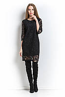Платье из гипюра свободное Армин черное.