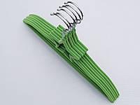 Плечики вешалки детские флокированные (бархатные, велюровые) зеленого цвета,длина 33 см, в упаковке 6 штук