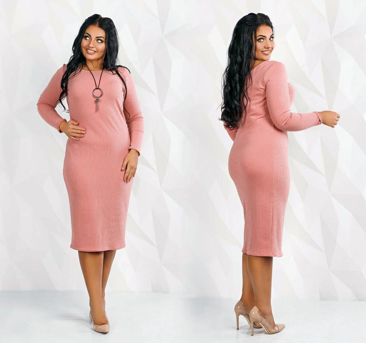 """Женское стильное платье в больших размерах 41130-1 """"Трикотаж Полоска Миди"""" в расцветках"""