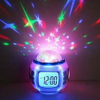 Музыкальные часы будильник с проектором звездного неба