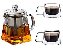 Заварник чайник + 2 скляні чашки
