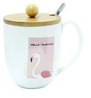 """Кружка керамичекая с крышкой и ложкой """"Hello Flamingo"""" 350 мл, фото 1"""