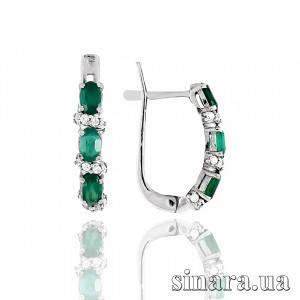 Серебряные серьги  c зеленым агатом 30892
