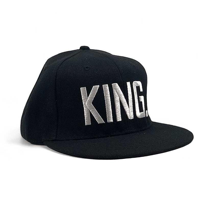 Бейсболка Снепбек King  черная, белый  лого