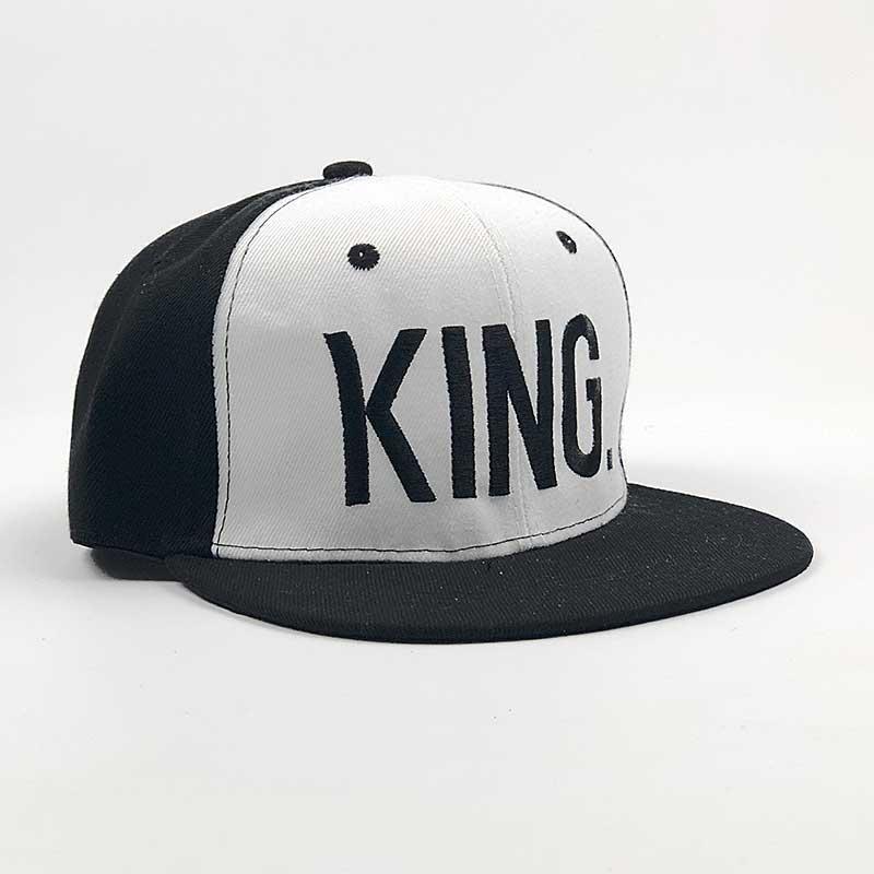 Бейсболка Снепбек  King   черно-белая, черный  лого