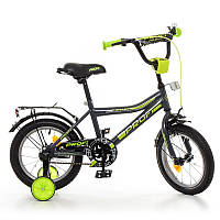 Велосипед детский 14 дюймовый Profi Y14108 Top Grade, графит-салатовый (мат), звонок, доп.колеса