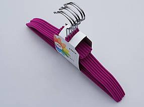 Плічка вішалки дитячі флокированные (оксамитові, велюрові) бузкового кольору, довжина 33 см, в упаковці 6 штук, фото 3