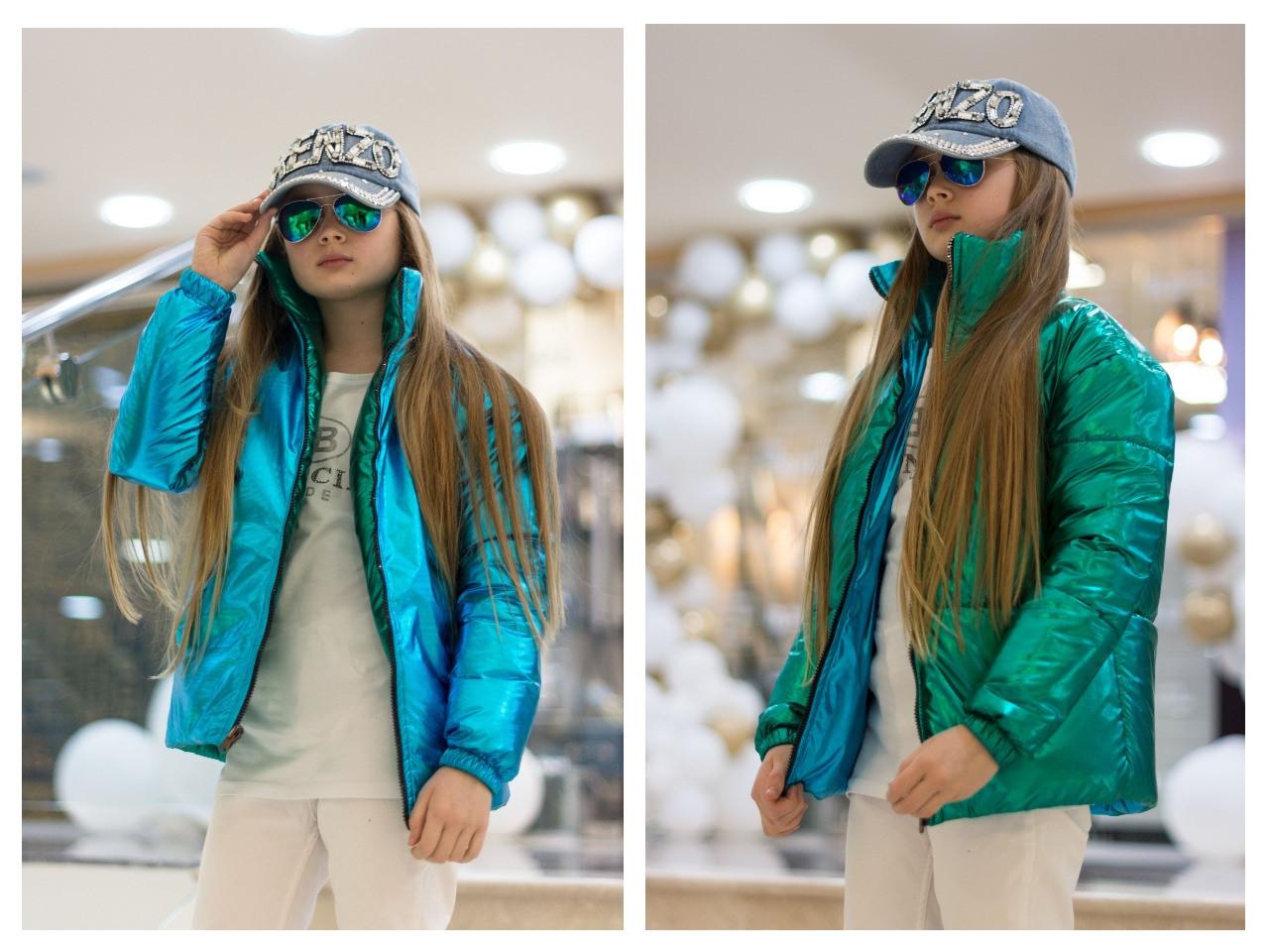 Куртка демисезонная двусторонняя для девочек, размеры на рост 128 - 170