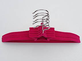 Плечики вешалки детские флокированные (бархатные, велюровые) малинового цвета, длина 33 см, в упаковке 6 штук, фото 2