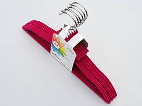 Плечики вешалки детские флокированные (бархатные, велюровые) малинового цвета, длина 33 см, в упаковке 6 штук, фото 3