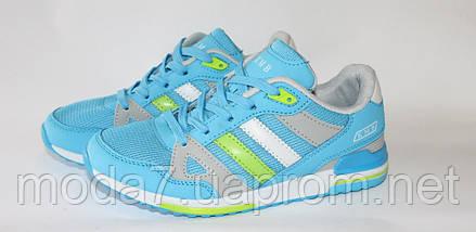 Женские подростковые кроссовки Adidas сетка голубые реплика, фото 3