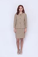 Жакет женский с укороченным рукавом, на пуговицах, бежевый, размер 42 мод. 5158
