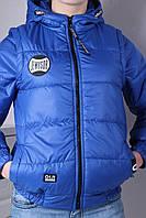 """Куртка-трансформер демисезонная """"JewusoR"""" для мальчиков 9-10-11-12-13-14 лет (134-164 см). Электрик. Оптом"""