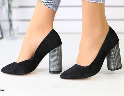 Туфли на каблуке натуральный замш черные
