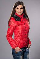 Женская молодежная демисезонная куртка. Код модели К-57-12-15. Цвет красный.