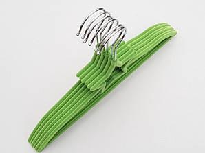 Плечики детские флокированные (бархатные) зеленого цвета, 33 см, 6 штук в упаковке