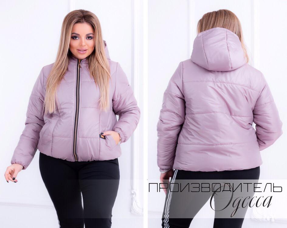 3aa162264e1 Женская куртка демисезонная плащевка на 150-ом синтепоне короткая на змейке  размер 48-